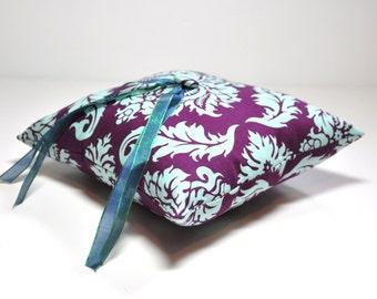 Ring Bearer Pillow - Purple and Aqua Blue Wedding Pillow - Simply Modern Ring Pillow - Damask Ring Pillow