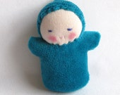 Waldorf doll, teal green, Waldorf pocket doll, Germandolls, miniature baby, Easter basket treat, Waldorf toy, gift for kids