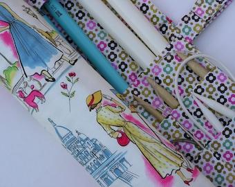 knitting needle case - knitting needle organizer - circular knitting needle case - colorful shopping in Paris print- 36 pockets