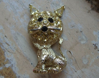 FREE SHIPPING Vintage Rhinestone Lion Cat Brooch Pin