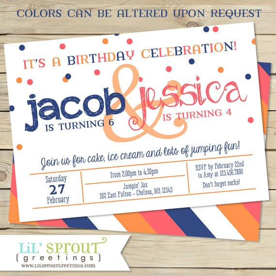 Sibling double birthday party invitation two child birthday il570xn m4hsunfo