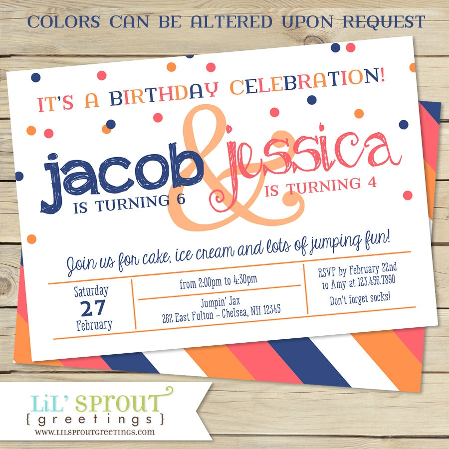 Sibling Double Birthday Party Invitation Two Child Birthday