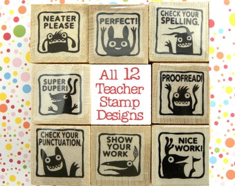 ALL 12 Monster rubber stamps for teachers