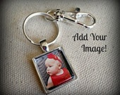 Custom Made Photo Keychain l Scrabble Size GLASS Photo Keychain with Lobster Clasp or Purse Key Clip Set in Silver Tray l Handmade Gift