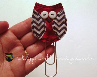 Owl Paperclip Bookmark, Owl Clip, Owl Bookmark, Clip, Owl Paperclips, Paperclips, Bookmark, Fabric Owl Bookmark