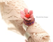 Spring Flower Ring Fine Silver Plated Mauve & Red Moving Flower Petal Trembler Ring