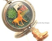 On The Farm Necklace Horse Theme Pocket Watch Miniature Wearable Diorama Pendant