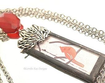 Red Bird Cardinal Necklace  Bird Pendant Soldered Red Bird Necklace
