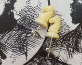 My Kingdom For A Horse- Vintage Horse Chess Piece Post Earrings