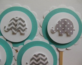 Elephant Cupcake Toppers - Teal with Gray Polka Dot and Chevron Elephants - Gender Neutral - Baby Showers - Birthday Parties - Set of 6