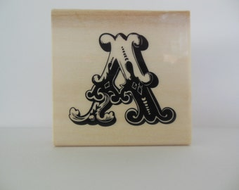 Letter A Rubber Stamp - Initial It Collection - Wood Mounted Rubber Stamp - Alphabet Letter A Stamp