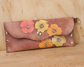 Pouch - Clutch - Make-up Case - Wristlet - Leather - Handmade in the Poppy Garden pattern with flowers - yellow orange pink antique mahogany