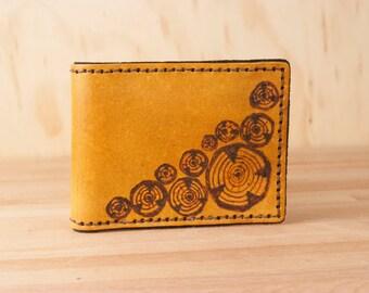 Wallet - Leather Wallet - Bifold Wallet - Mens Wallet - Faux Bois Pattern with wood rounds in antique tan - Wood grain - Wood - Handmade