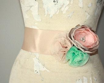 Dress sash, Mint, champagne and peach bridal sash, fabric flower wedding dress sash