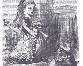 Alice in Wonderland.Kittens.Antique Book Page Print.French text,buy 3 get 1 FREE,affordable art.home deco.nursery.fairy tale.child.wife.wall