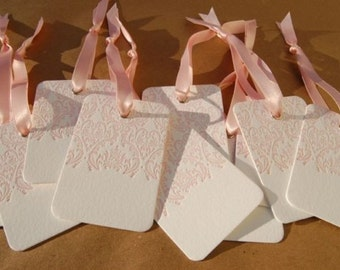 Gift Tags - LETTERPRESS - Love Damask - Set of 10