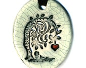 No Longer Weeping Willow Tree Ceramic Necklace in Antique Crackle