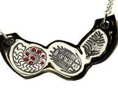 Fossil Sparkle Surly Ceramic Necklace With Rhinestone Chain in Bronze Glaze
