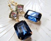 Gold Plated USA Brass Vitrail & Sapphire Vintage New Old Stock Rhinestone Earrings Sparkly