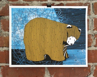 Folk Bear- 11x14 Hand-printed Art print
