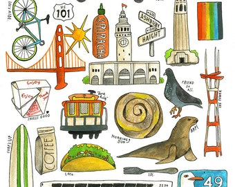 San Francisco Favorites -  Lisa Congdon Archival Art Print