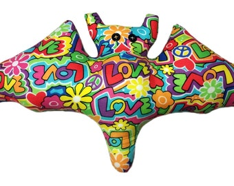 Peace, Love and Happiness Bat Pillow