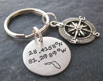 Latitude Longitude Keychain, pewter disc, compass charm, choose state & coordinates, gps keychain, coordinates keychain, men's keychain