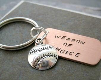 BASEBALL Keychain, Weapon of Choice, Baseball player gift, baseball coach gift, softball player gift, softball coach gift, initial disc