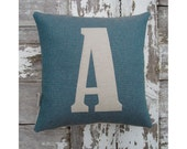 Mini letter cushion/pillow in lovely blue cotton and applique' wool felt.