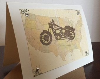 Motorcycle & Map Screen-Printed Greeting Card