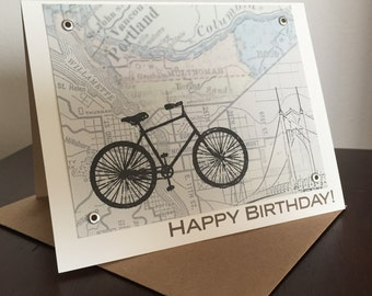 Portland Bike and Map Birthday Card - Gocco Screen-Printed Card