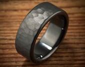 Men's Wedding Band Hammered Comfort Fit Interior Black Zirconium Ring