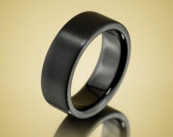 Men's Wedding Band Comfort Fit Interior Classic Black Zirconium Ring