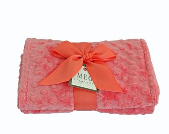 Coral Minky Dot Baby Girl Burp Cloth Set, 132