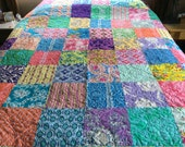 Patchwork Throw Quilt. Jennifer Paganelli, Large Bed Blanket, Bedding. Multicolored Designer Fabric. Ready To Ship, Professionally Quilted.