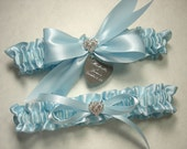 Something Blue Wedding Garter Set, Personalized Light Blue Satin Garters with Engraving and Rhinestone Hearts