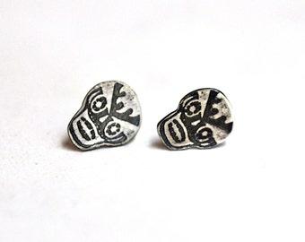 Etched Sterling Silver Sugar Skull Post Stud Earrings