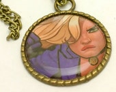 Black Canary recycled comic book large pendant