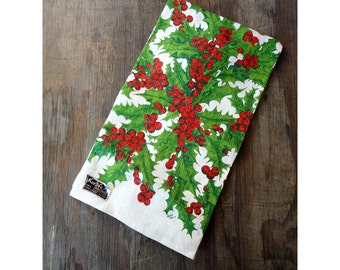 1960s Linen Towel - Christmas Holly and Berries by Kay Dee Hand Prints