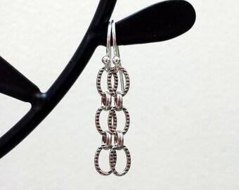 Silver Chain Earrings Simple Sterling Silver Triple Oval Braided Chain Lightweight Dangle Earrings