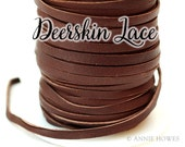 Soft and Supple Boho Chocolate Brown Deerskin Lace Leather 3mm / 1/8 Inch / 50 ft Spool