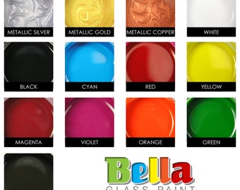 Bella Paint for Glass, Clay, and Metal. Opaque Glossy Paint, Heat Cured. Single 2 oz. Jar.