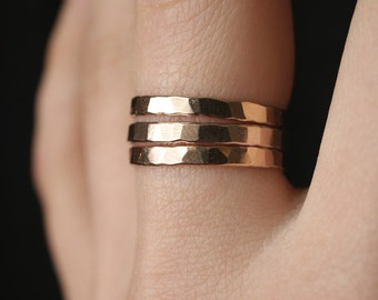 Extra Thick Gold Stack rings, Set of 3 Gold Stack rings, stackable rings, extra thick gold ring, hammered gold ring, thick gold band