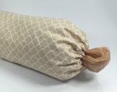 Plastic Bag Holder - Grocery Bag Dispenser - Fabric Tan and White
