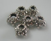 7mm Sterling silver bead caps- six sterling silver bead caps-925 sterling silver-ONE cap
