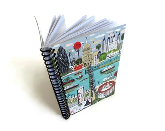 Thames London Spiral Bound Journal, Pocket, Travel, Diary, Writing, A6 Blank Paper Notebook, Sketchbook, London Gifts, Gifts Under 15