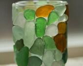 Sea glass candle holder, genuine sea glass, beach glass, nautical beach decor, sea glass