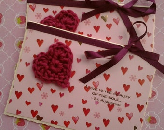 Love, Valentine, Wedding Card - Beautiful crochet heart with choice of quote - Virgil, St Augustine