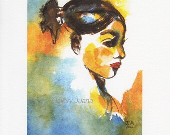 female portrait, sumi and watercolor painting,  giclee print, 6 x 8 inches