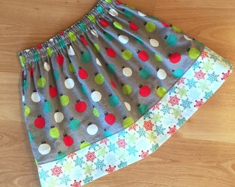 Sizes 6/12mo to 8yrs - HOLIDAY ORNAMENTS Simple Skirt- Boutique Girls Skirt